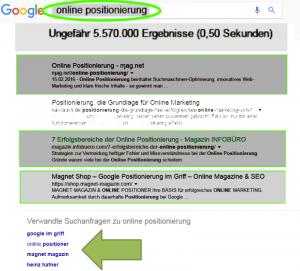 Online Positionierung INFOBÜRO Hafner Leistungsbeweis Treffer verwandte Begriffe